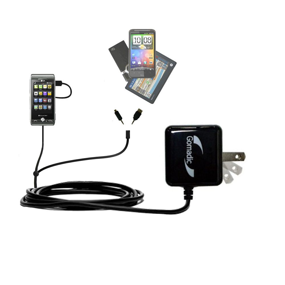 Double Wall Home Charger with tips including compatible with the LG GX500