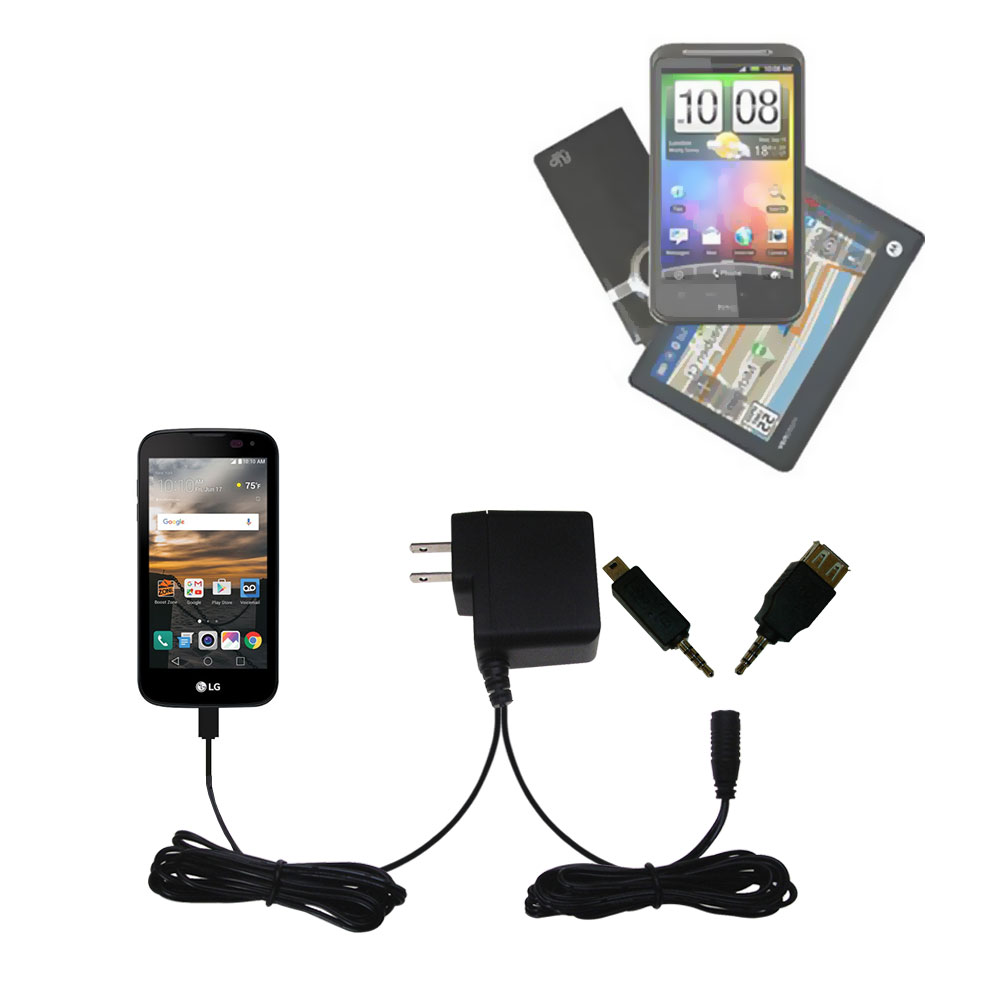 Double Wall Home Charger with tips including compatible with the LG K3