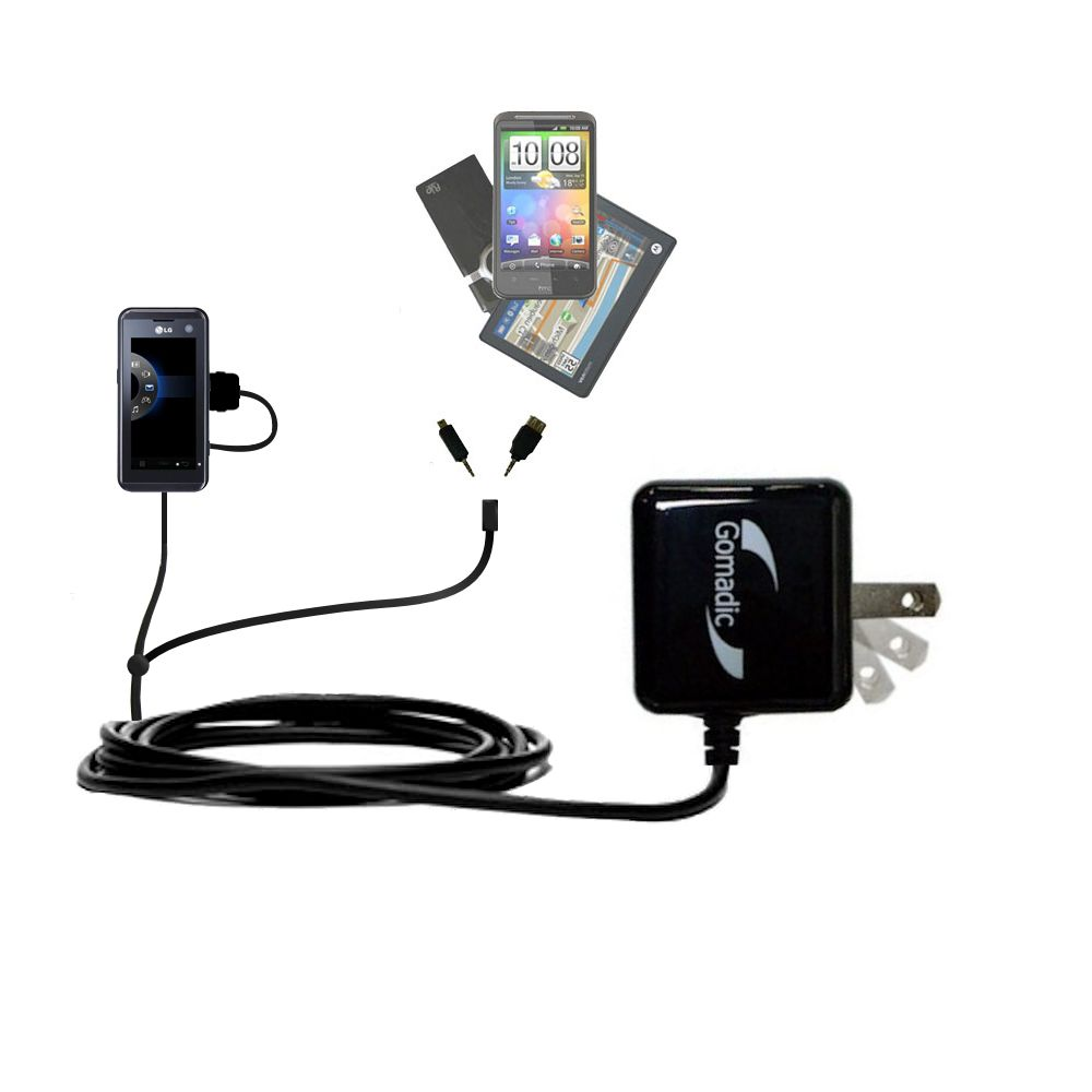 Double Wall Home Charger with tips including compatible with the LG KF700 / FG-700