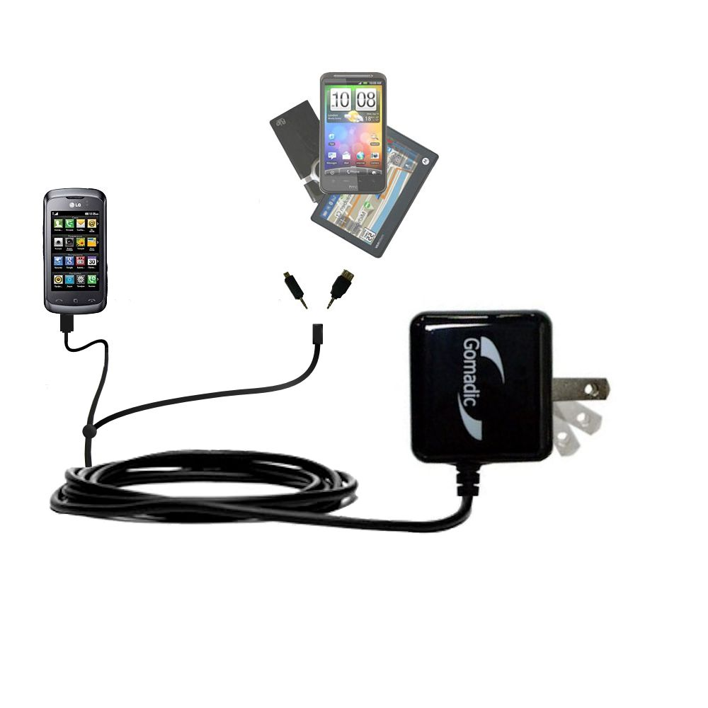 Double Wall Home Charger with tips including compatible with the LG KM555E