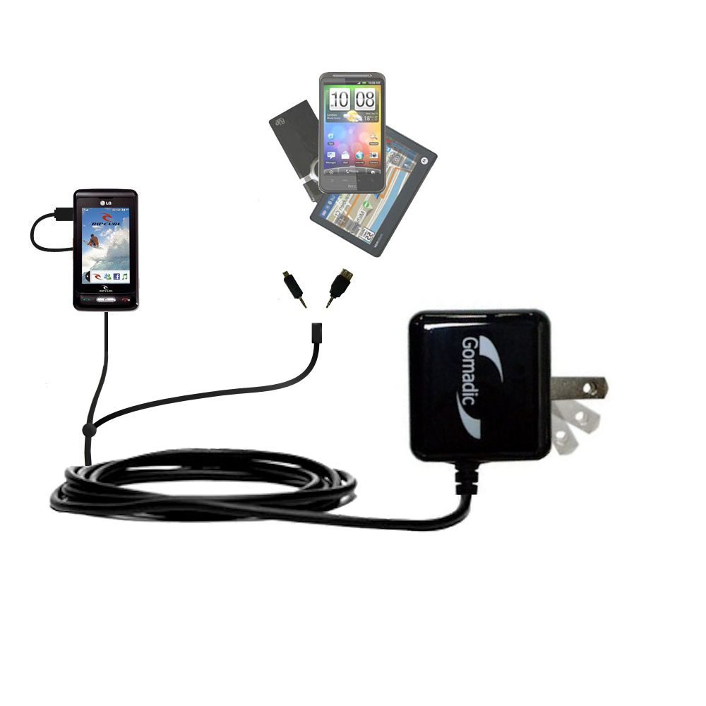 Double Wall Home Charger with tips including compatible with the LG KP550 Rip Curl