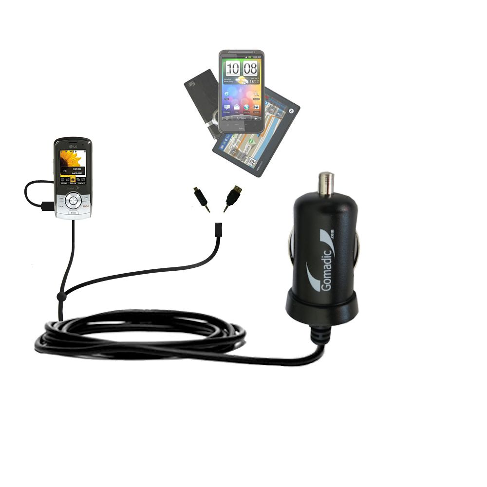 mini Double Car Charger with tips including compatible with the LG LX370