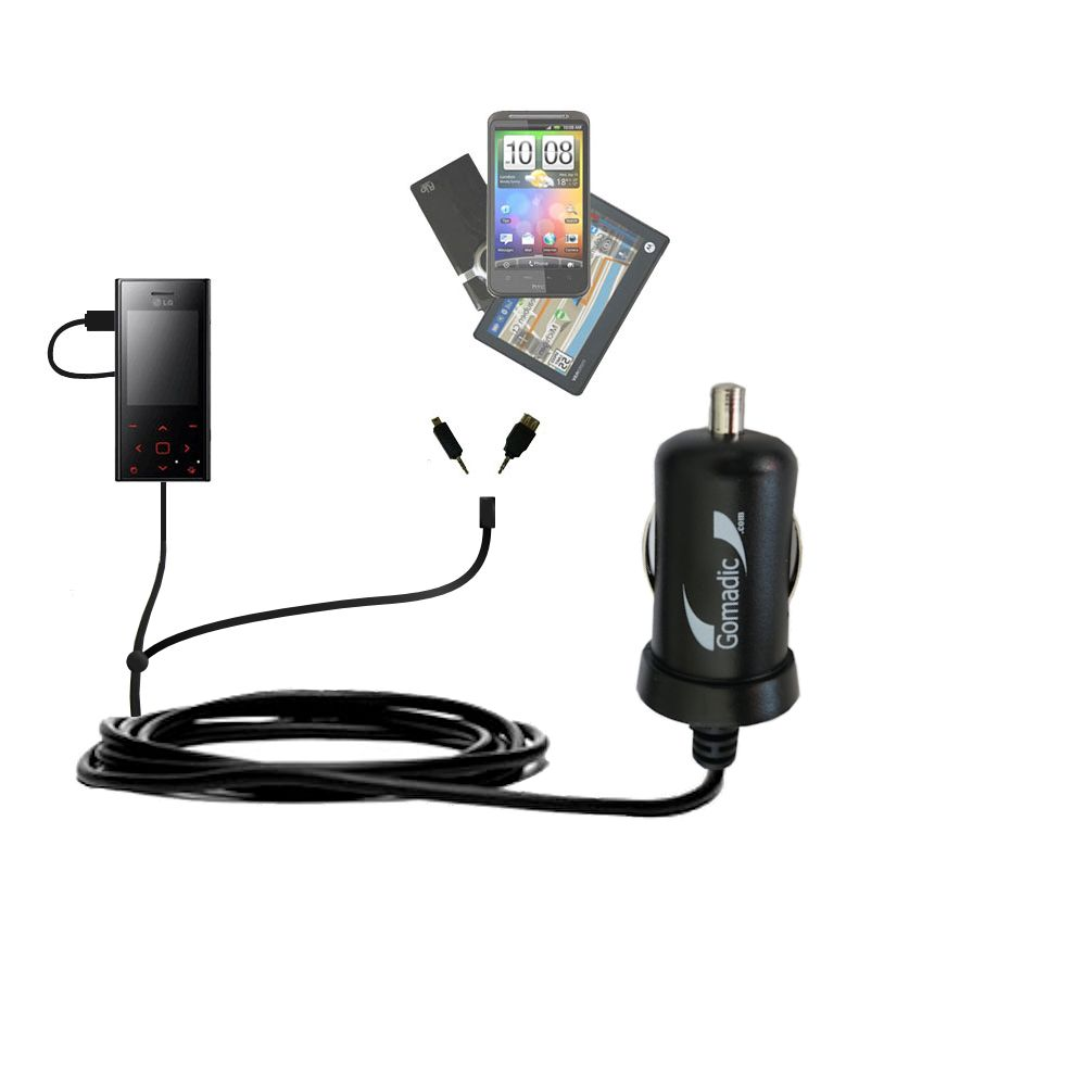 mini Double Car Charger with tips including compatible with the LG New Chocolate BL20