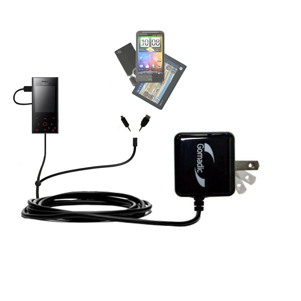 Double Wall Home Charger with tips including compatible with the LG New Chocolate BL20