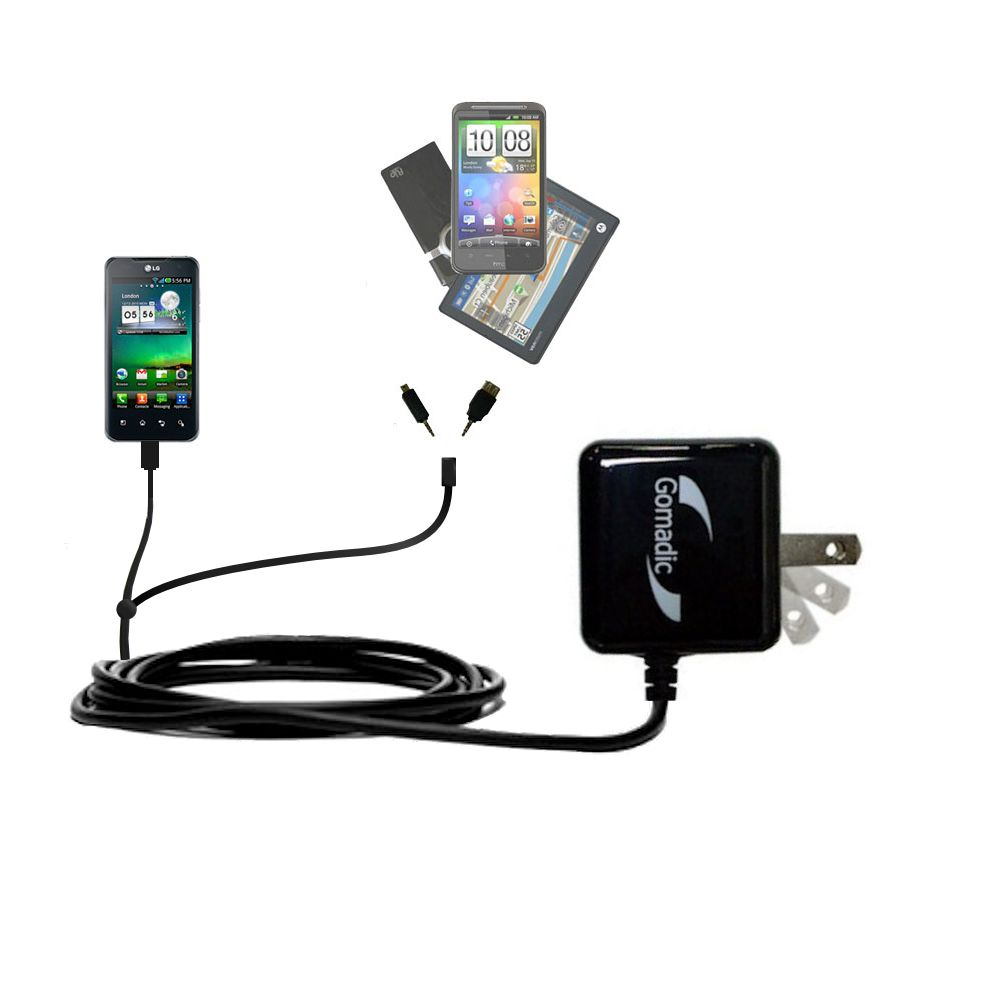 Double Wall Home Charger with tips including compatible with the LG Optimus 2