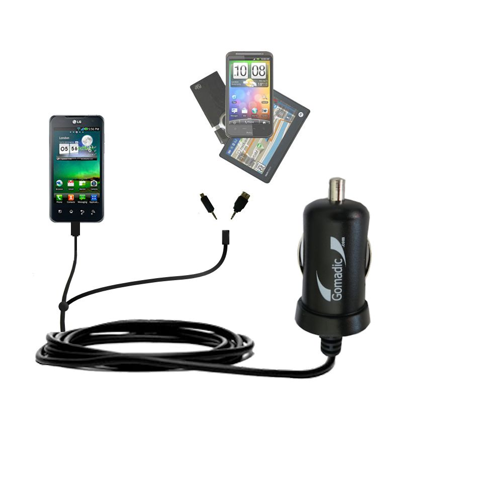 mini Double Car Charger with tips including compatible with the LG Optimus 2X