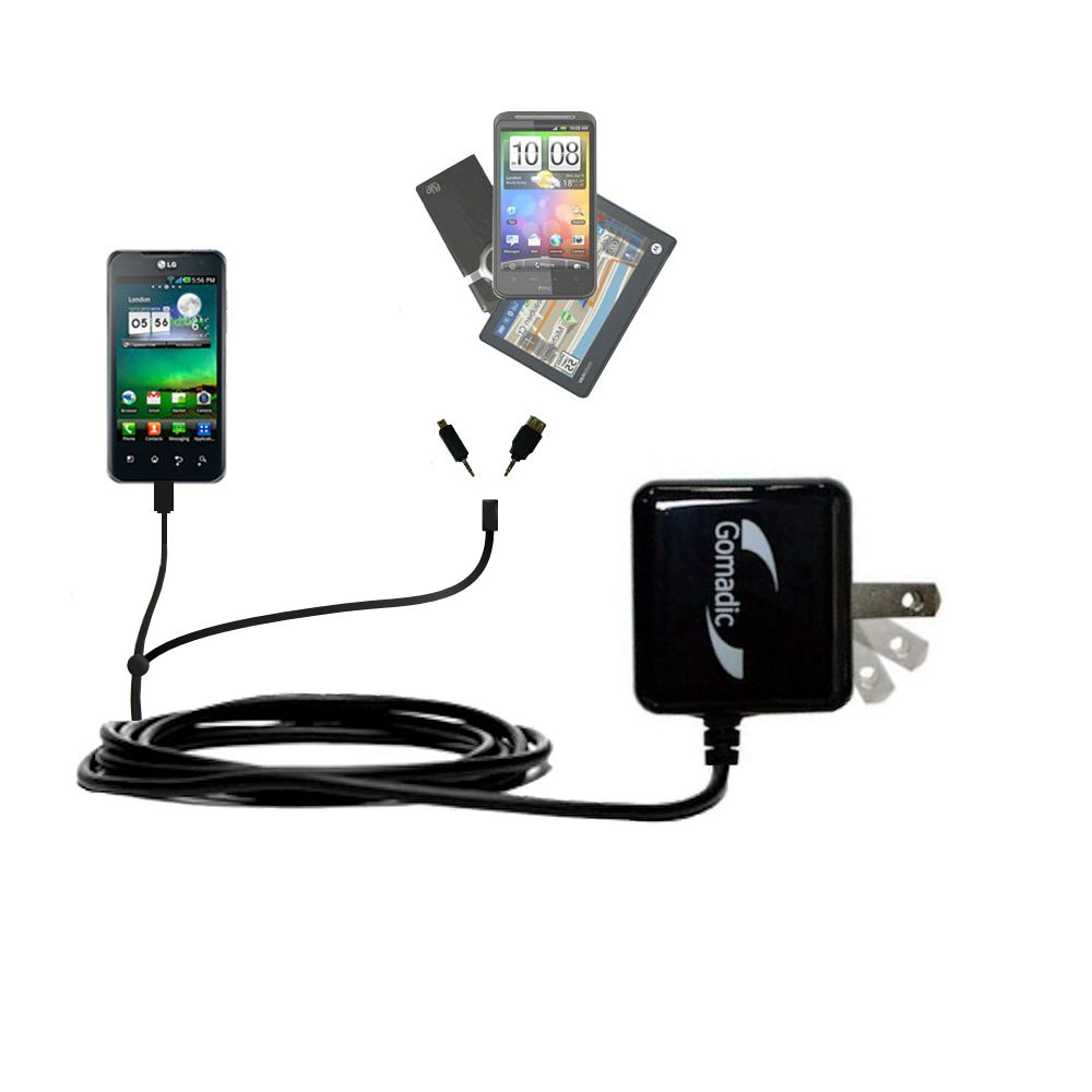 Double Wall Home Charger with tips including compatible with the LG Optimus 2X