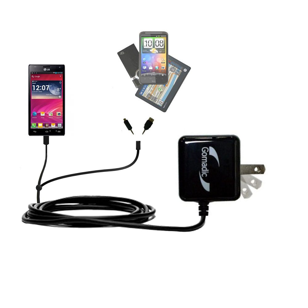 Double Wall Home Charger with tips including compatible with the LG Optimus 4X HD