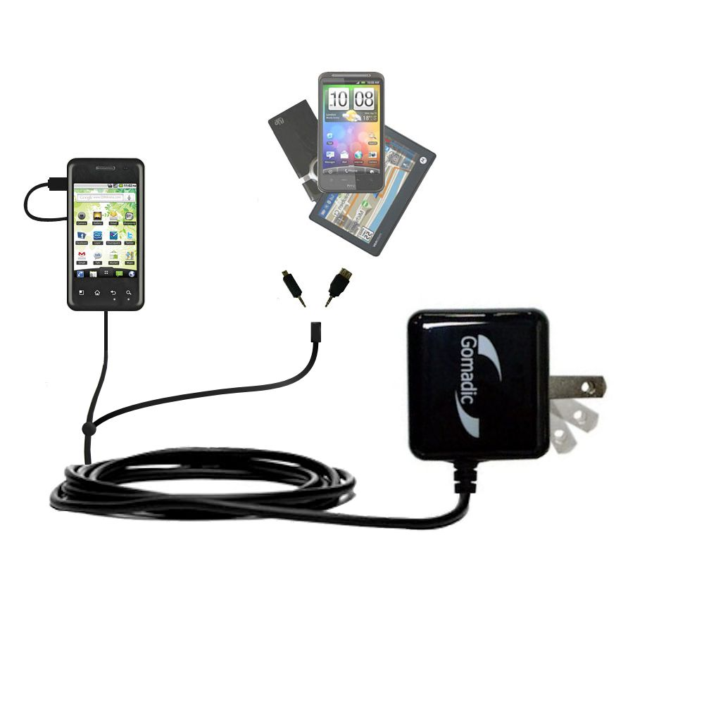 Double Wall Home Charger with tips including compatible with the LG Optimus Chic