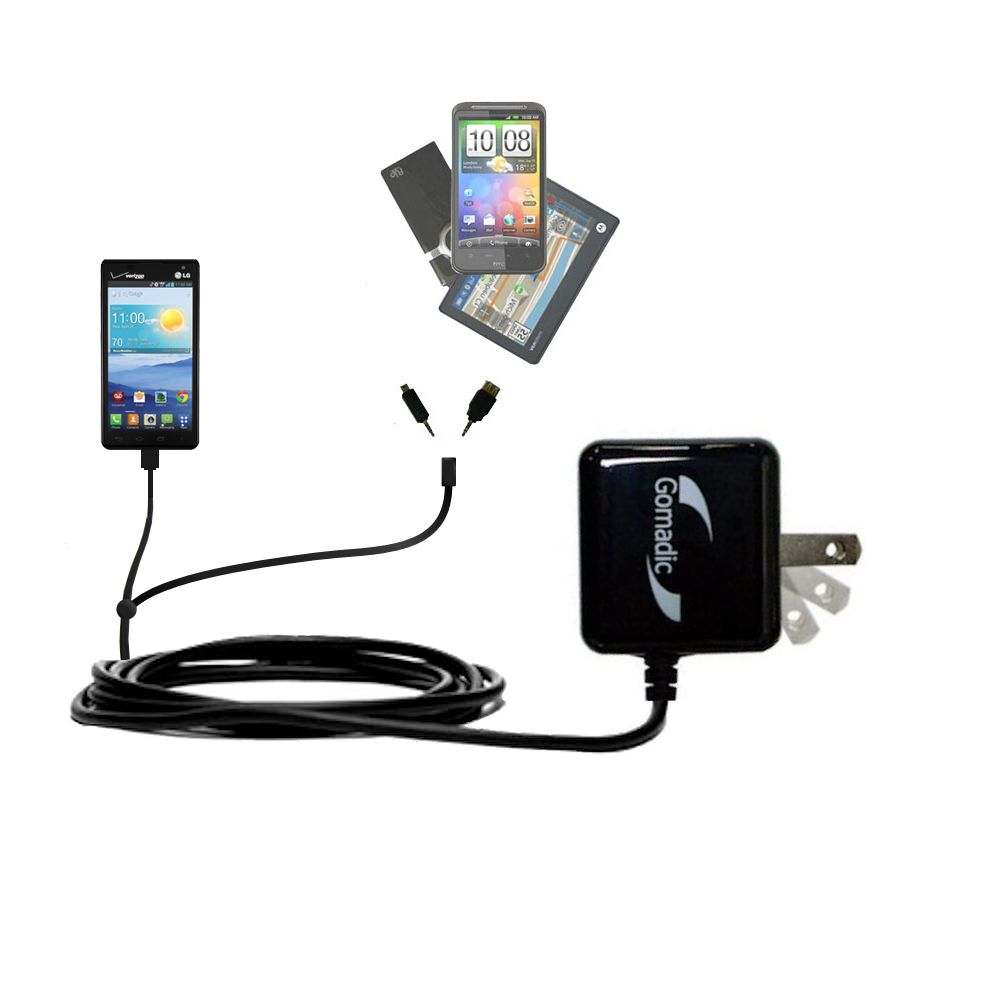 Double Wall Home Charger with tips including compatible with the LG Optimus F3