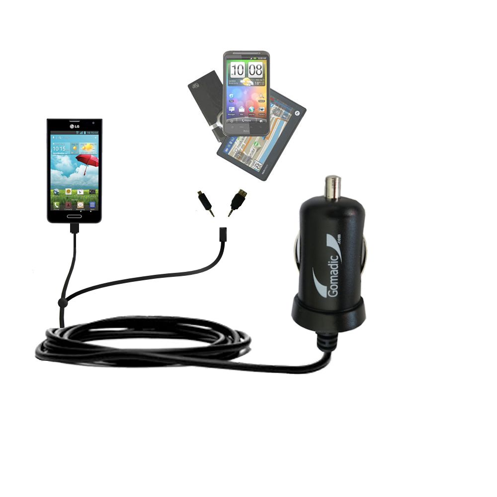 mini Double Car Charger with tips including compatible with the LG Optimus F6
