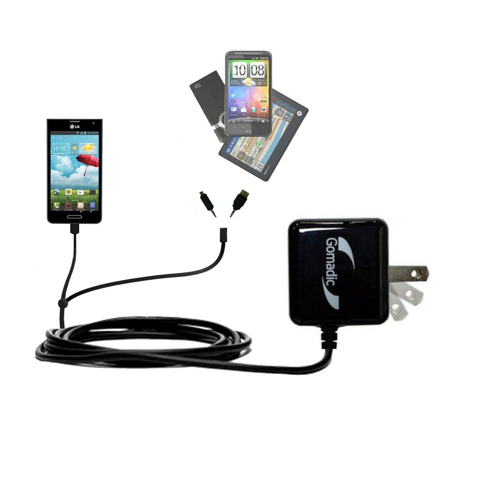 Double Wall Home Charger with tips including compatible with the LG Optimus F6