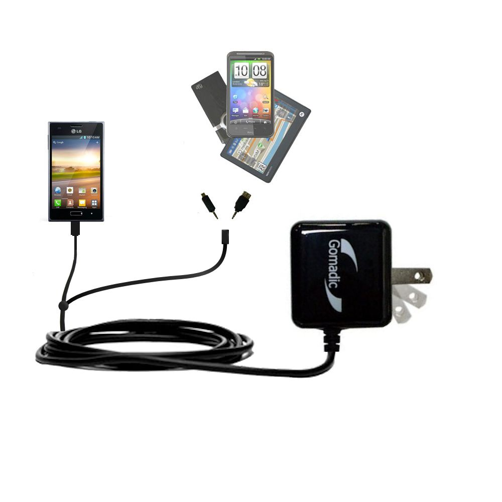 Double Wall Home Charger with tips including compatible with the LG Optimus L5