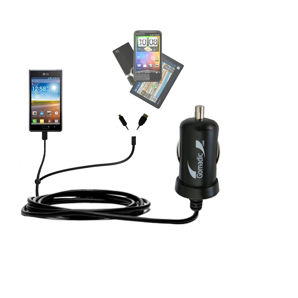 mini Double Car Charger with tips including compatible with the LG Optimus L7