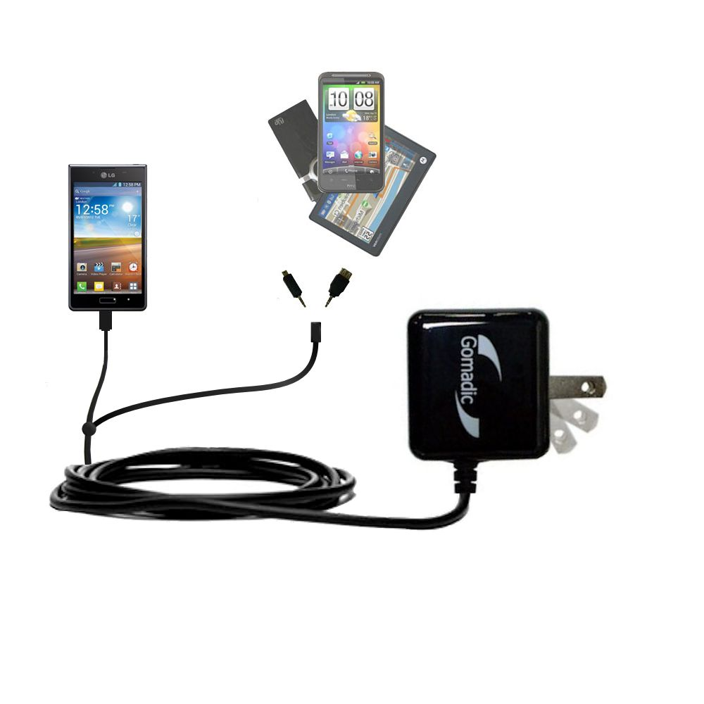 Double Wall Home Charger with tips including compatible with the LG Optimus L7