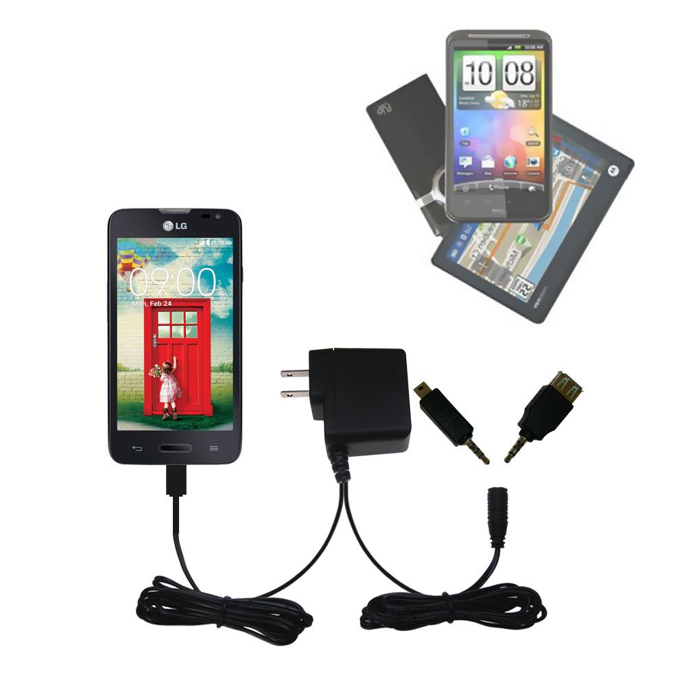 Double Wall Home Charger with tips including compatible with the LG Optimus L70