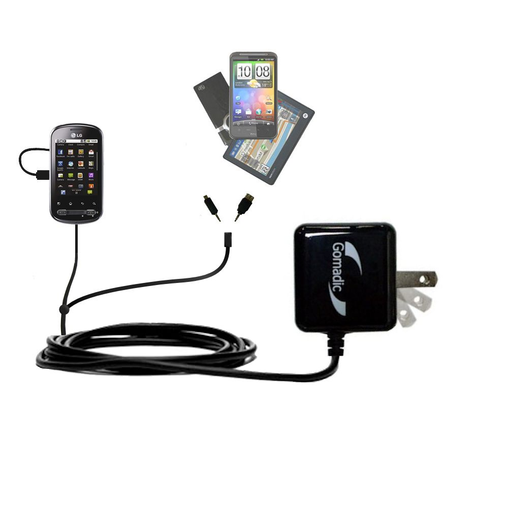 Double Wall Home Charger with tips including compatible with the LG Optimus Me P350