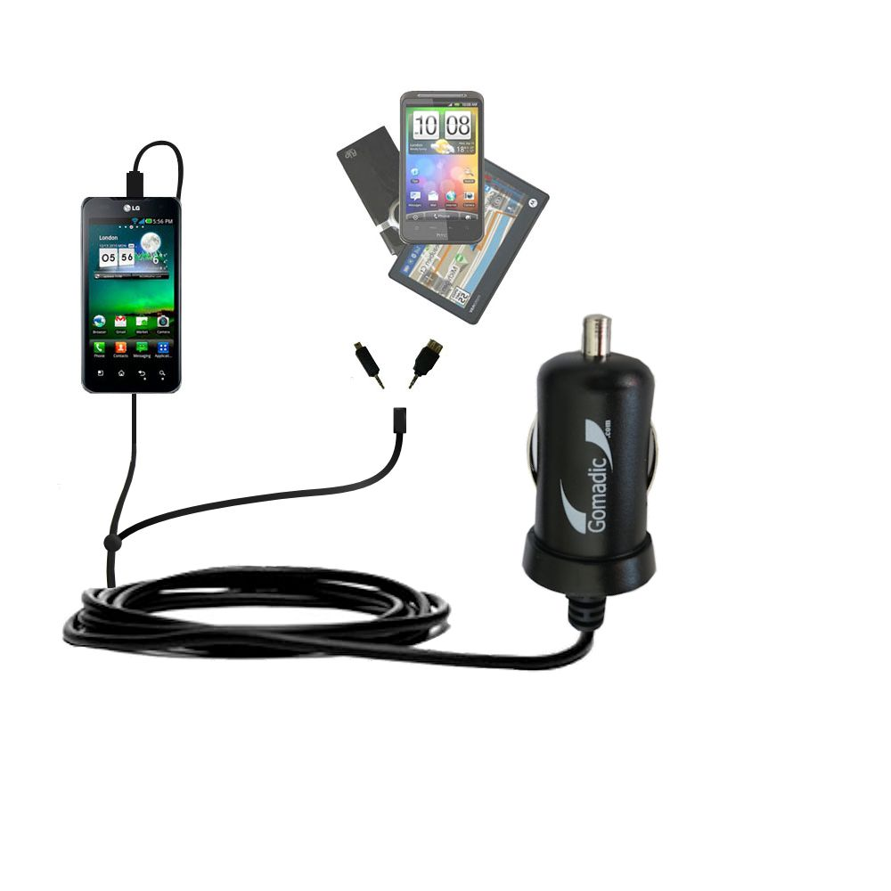 mini Double Car Charger with tips including compatible with the LG Optimus True HD