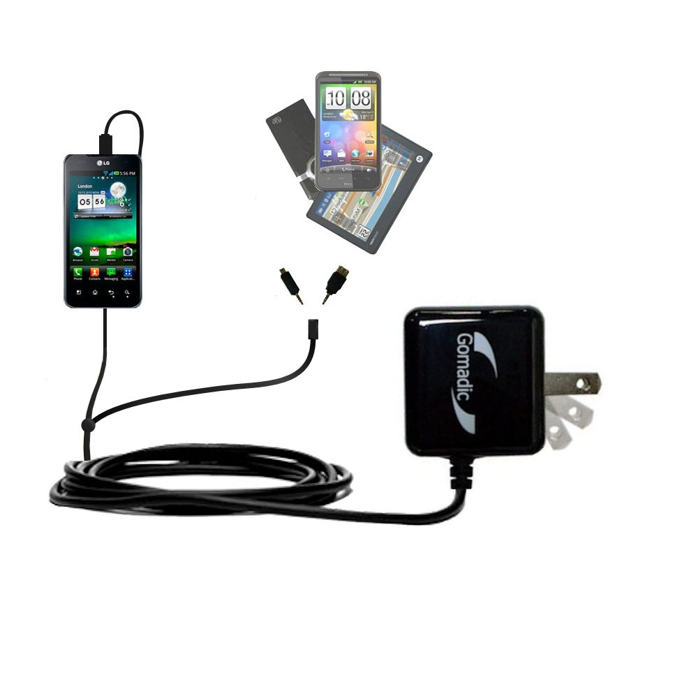 Double Wall Home Charger with tips including compatible with the LG Optimus True HD