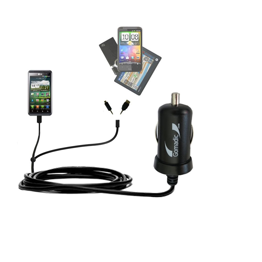mini Double Car Charger with tips including compatible with the LG Optimus Two