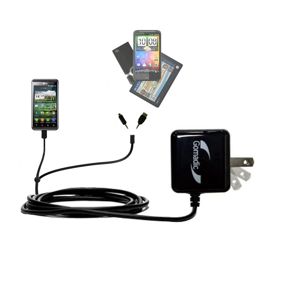 Double Wall Home Charger with tips including compatible with the LG Optimus Two
