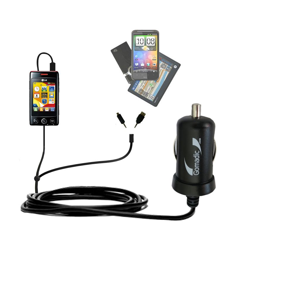 mini Double Car Charger with tips including compatible with the LG Papaya