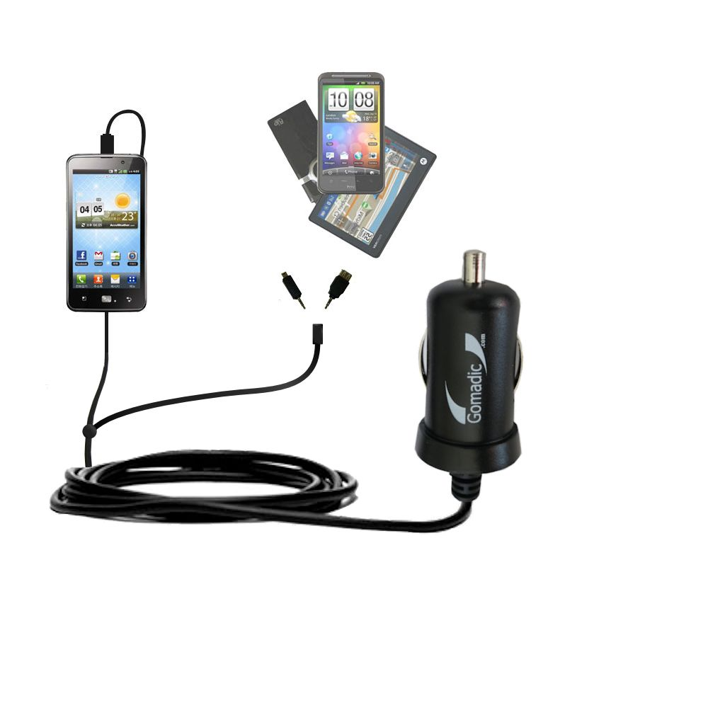 mini Double Car Charger with tips including compatible with the LG Revolution 2
