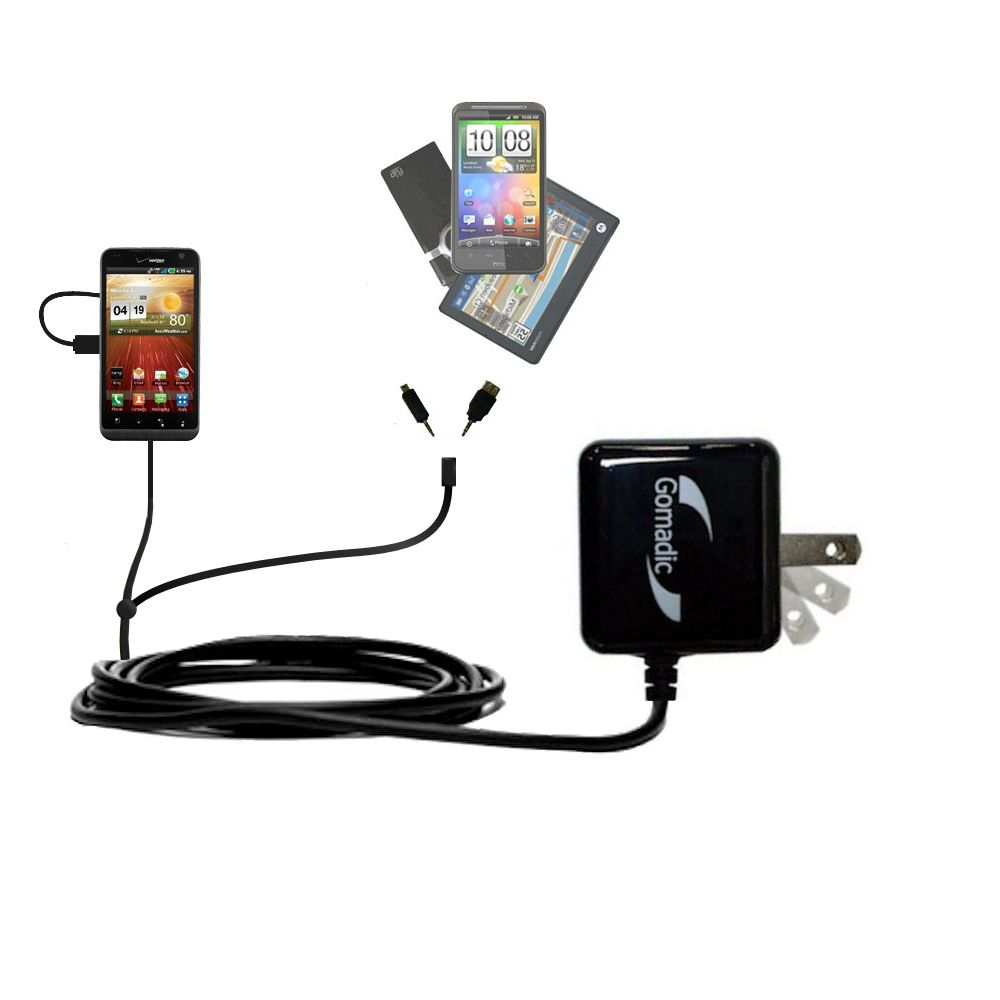 Double Wall Home Charger with tips including compatible with the LG Revolution