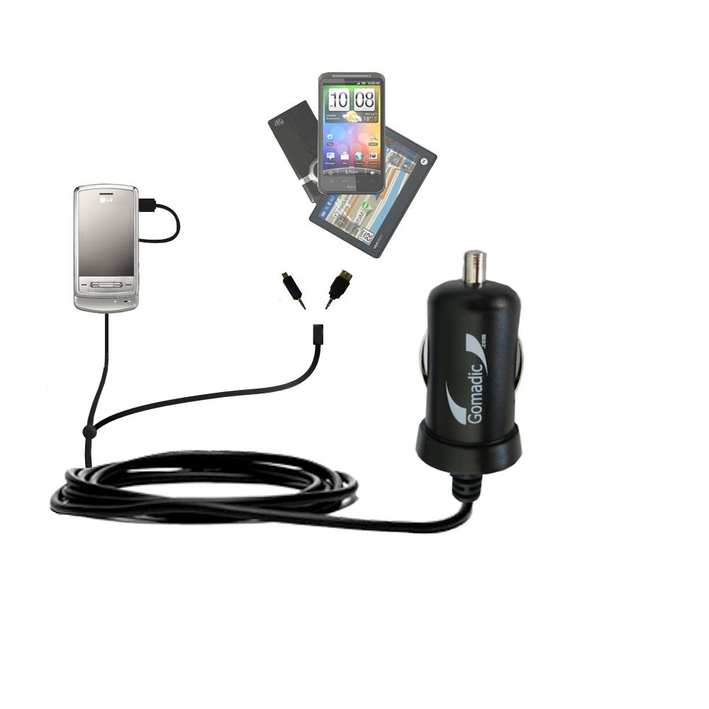mini Double Car Charger with tips including compatible with the LG Shine