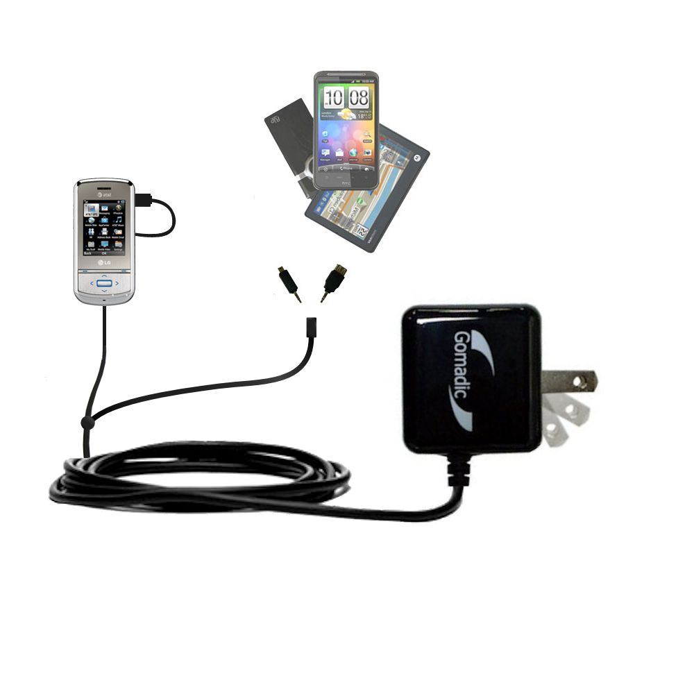 Double Wall Home Charger with tips including compatible with the LG Shine II GD710