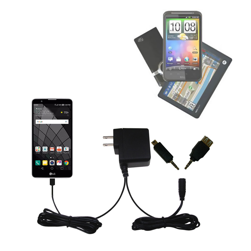 Double Wall Home Charger with tips including compatible with the LG Stylo 2 / 2V