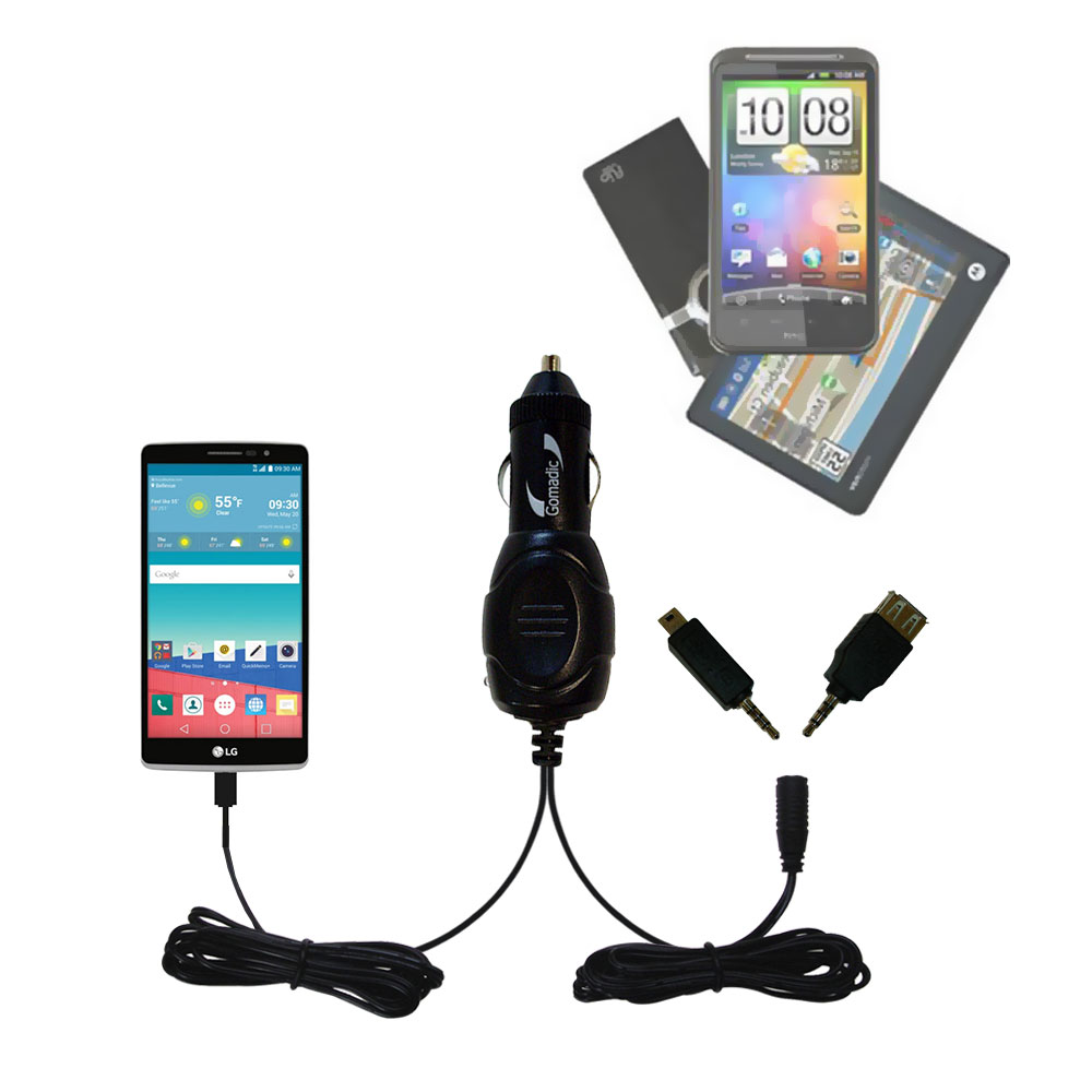 mini Double Car Charger with tips including compatible with the LG Stylo 3