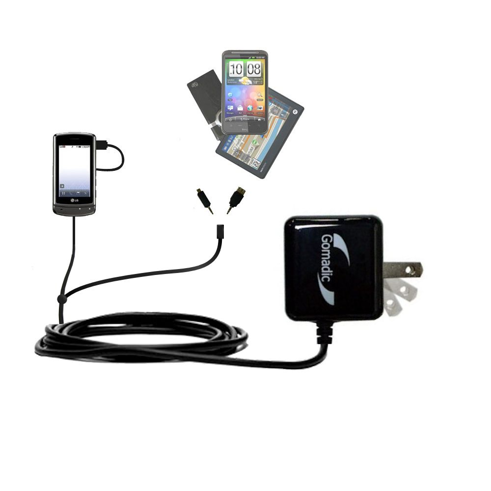 Double Wall Home Charger with tips including compatible with the LG UX830 UX840
