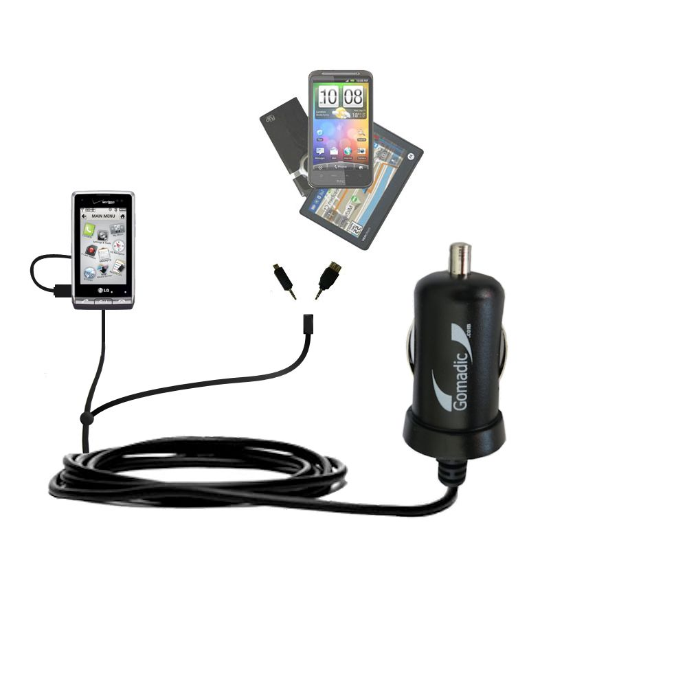 mini Double Car Charger with tips including compatible with the LG VX9700
