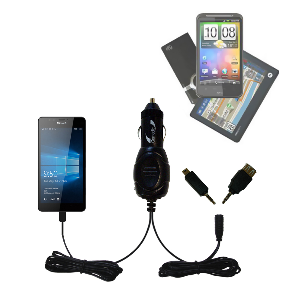 mini Double Car Charger with tips including compatible with the Microsoft Lumia 950