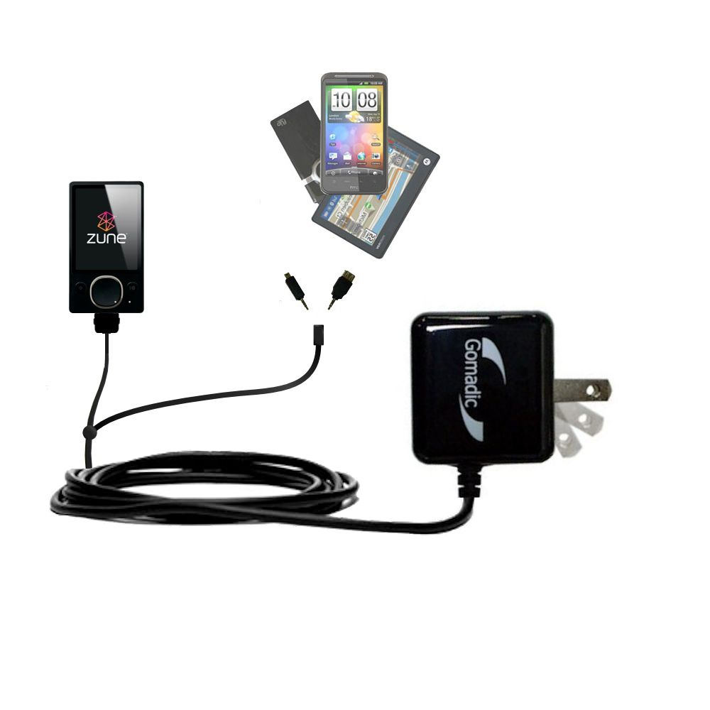 Double Wall Home Charger with tips including compatible with the Microsoft Zune (2nd and Latest Generation)