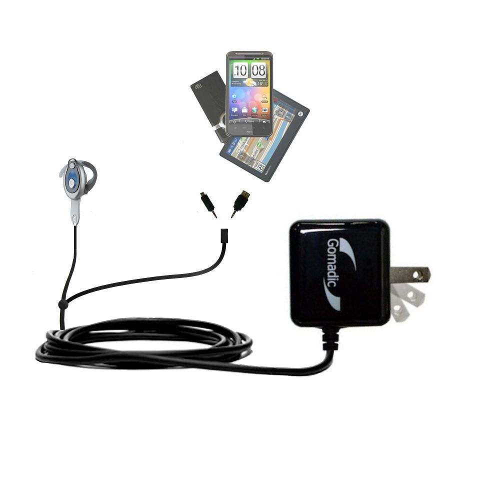 Double Wall Home Charger with tips including compatible with the Motorola HS850