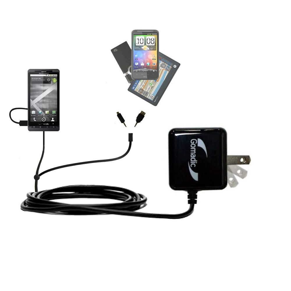 Double Wall Home Charger with tips including compatible with the Motorola Droid X