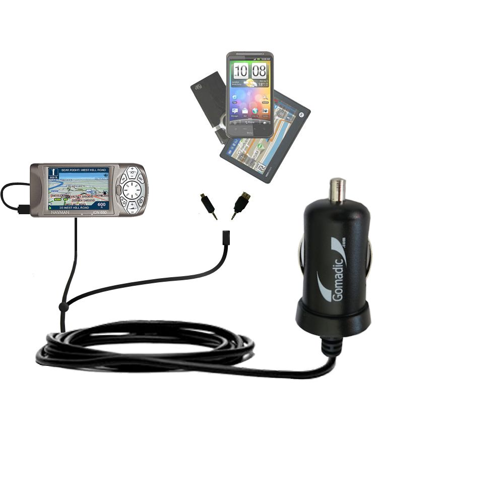 mini Double Car Charger with tips including compatible with the Navman iCN 650