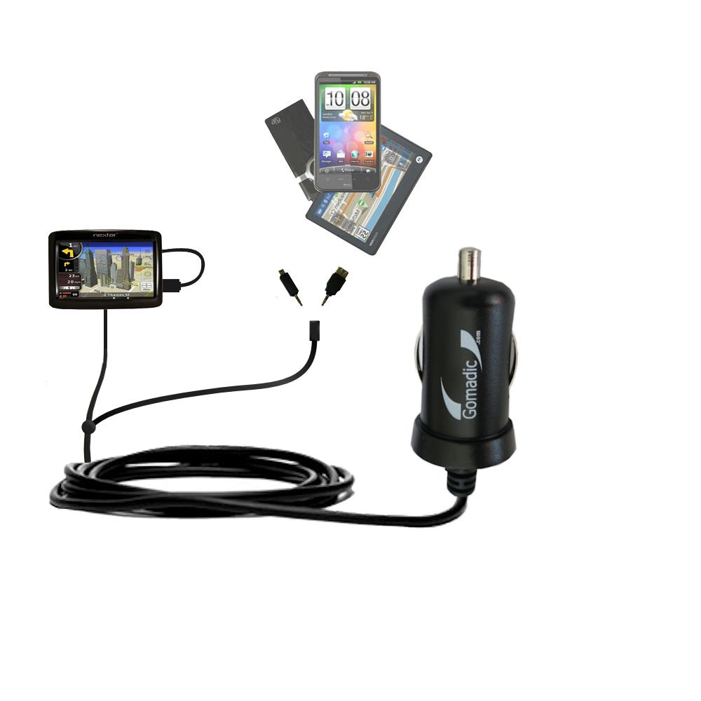 mini Double Car Charger with tips including compatible with the Nextar K4