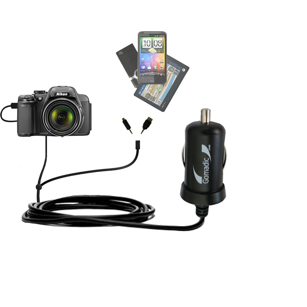 mini Double Car Charger with tips including compatible with the Nikon Coolpix P510 / P520