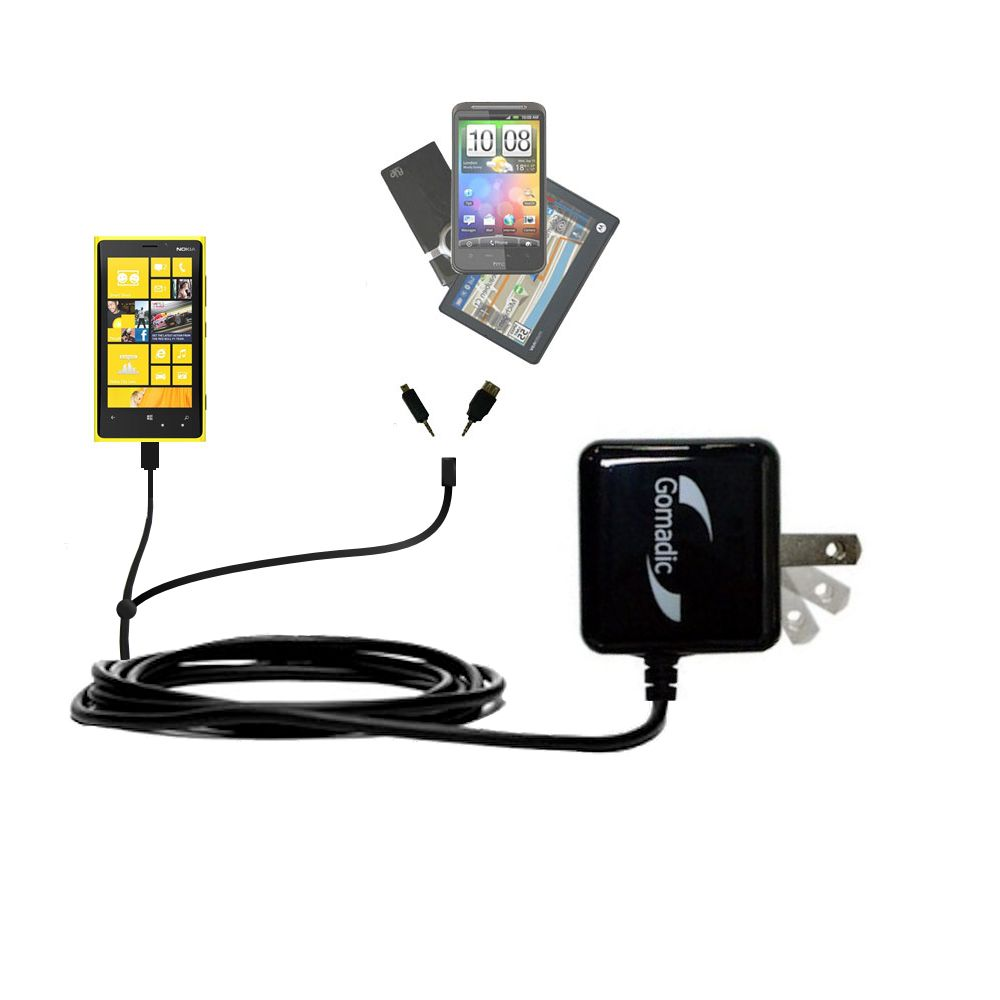 Double Wall Home Charger with tips including compatible with the Nokia Lumia 920