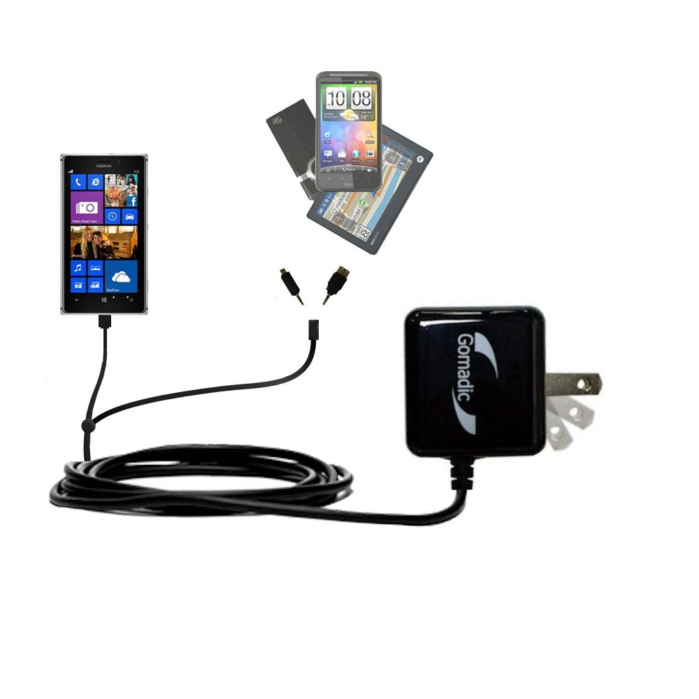 Double Wall Home Charger with tips including compatible with the Nokia Lumia 925