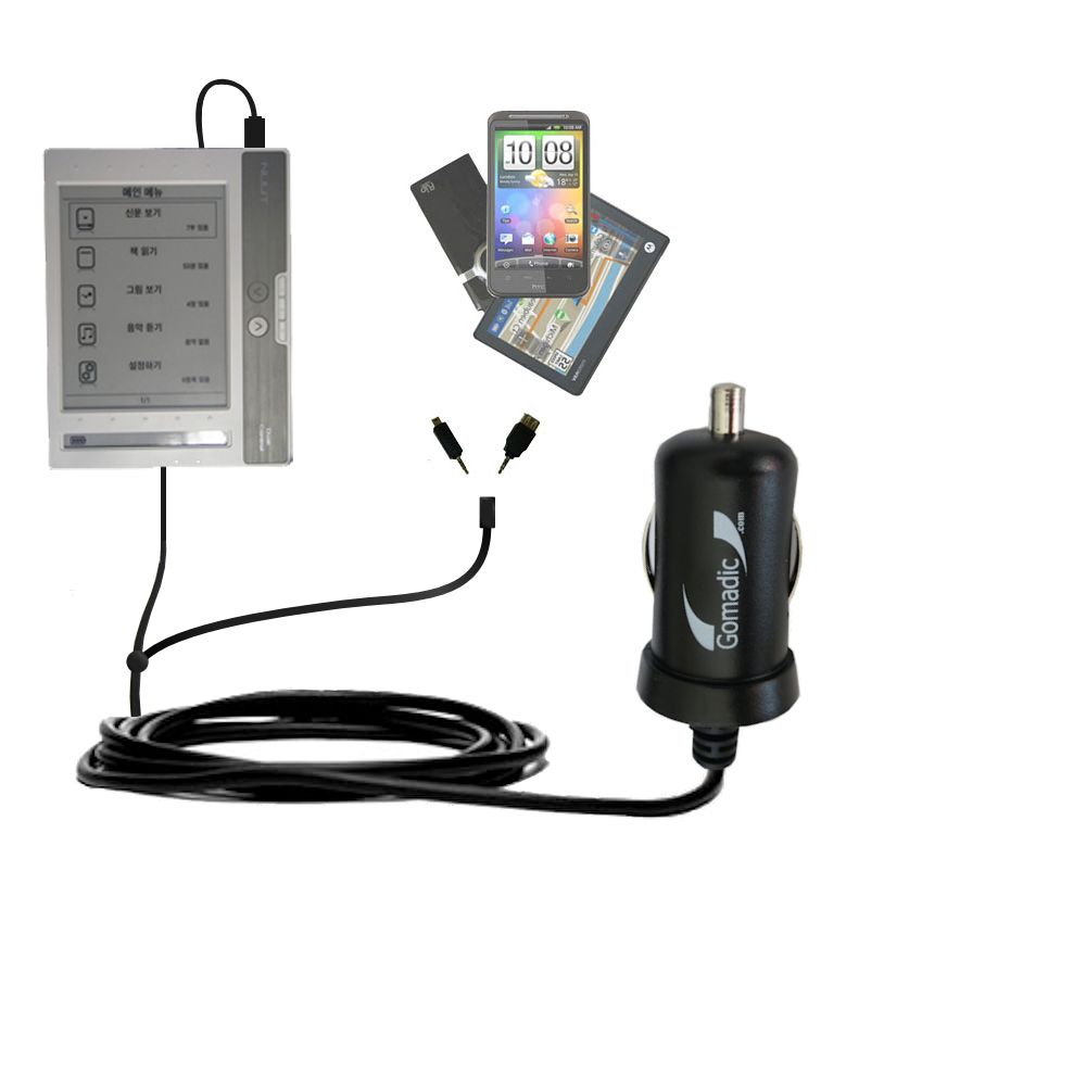 mini Double Car Charger with tips including compatible with the NUUTbook NUUT2