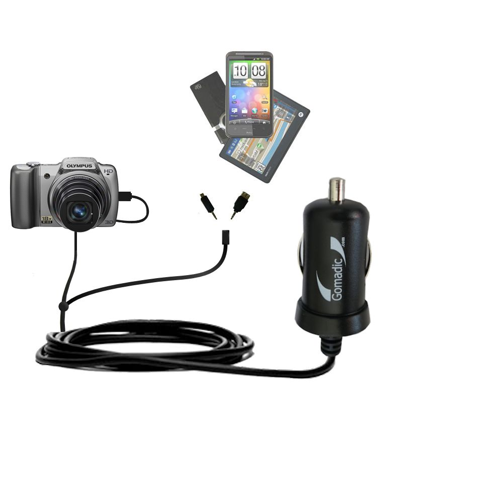 mini Double Car Charger with tips including compatible with the Olympus SZ-10