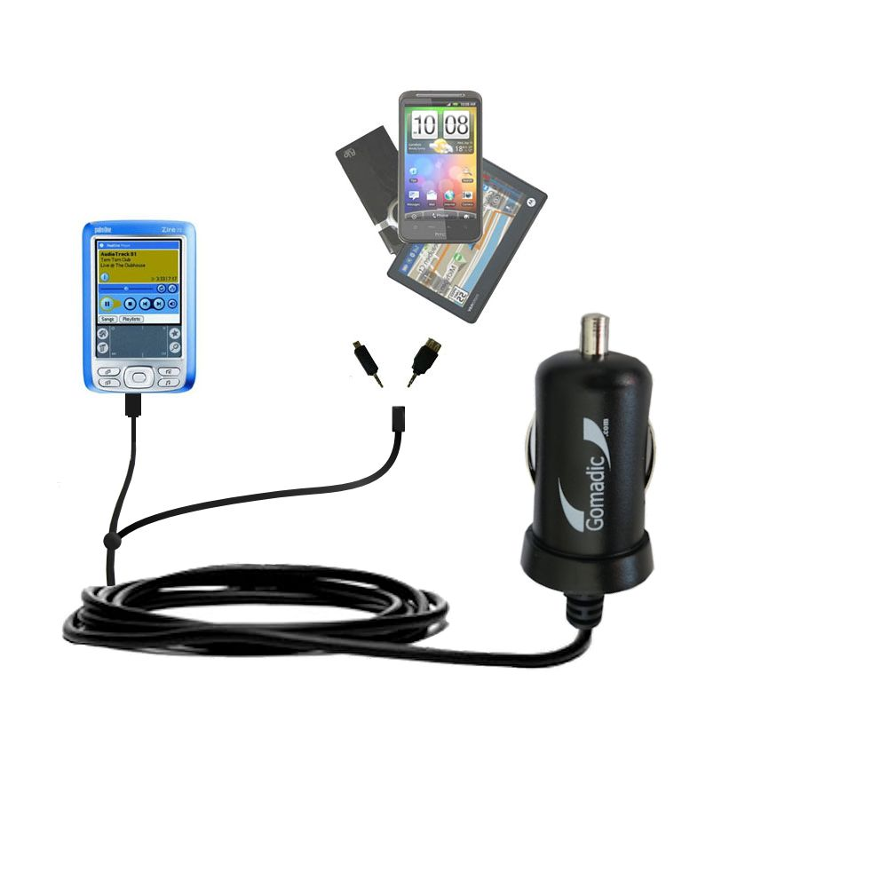 mini Double Car Charger with tips including compatible with the Palm palm Zire 72s