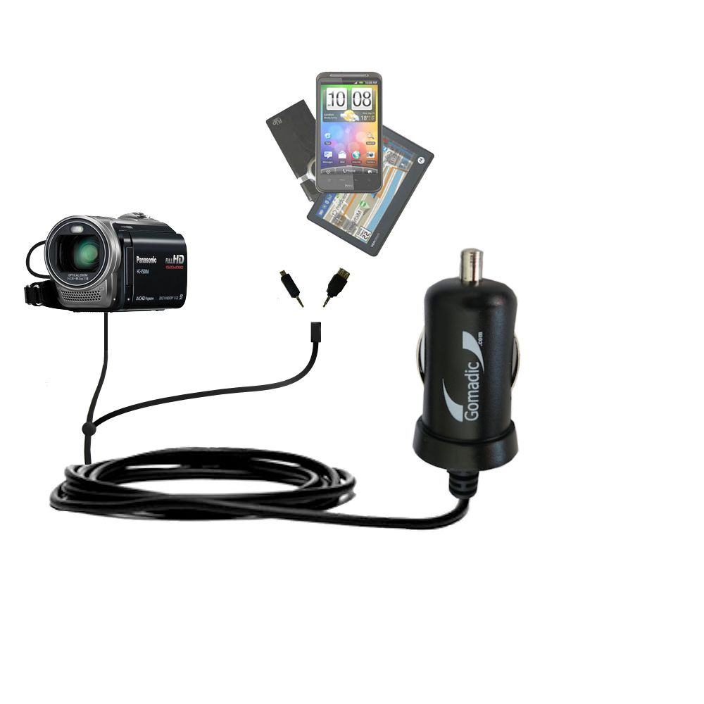 mini Double Car Charger with tips including compatible with the Panasonic HC-V500