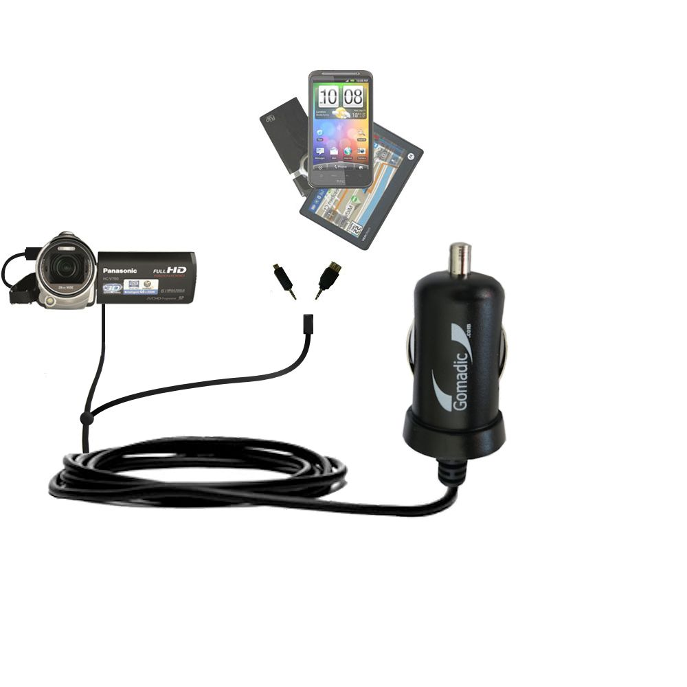 mini Double Car Charger with tips including compatible with the Panasonic HC-V700