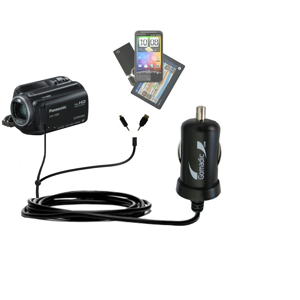 mini Double Car Charger with tips including compatible with the Panasonic HDC-HS80 Camcorder
