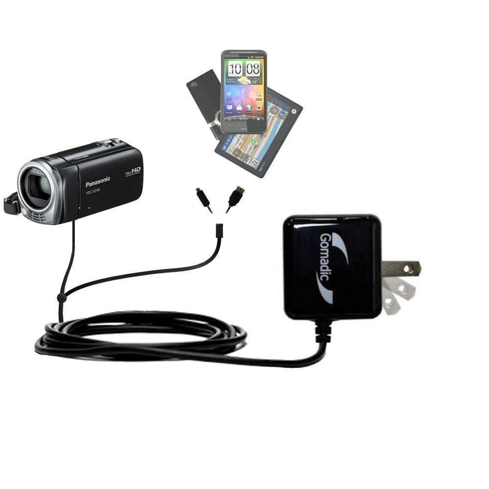 Double Wall Home Charger with tips including compatible with the Panasonic HDC-SD40 Camcorder